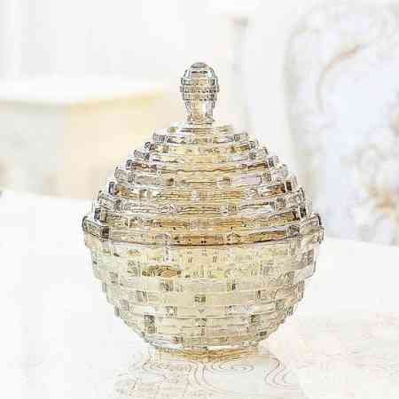 Glass storage jar candy jar with lid European wine cabinet decoration ornaments living room TV cabinet porch home furnishings