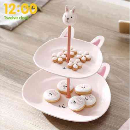 Double fruit bowl personalized shelf creative multi-layer dessert table display stand snack pastry cute candy plate cake