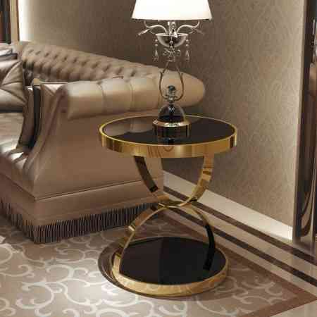 Modern minimalist stainless steel gold rounded corners phone gold-plated tempered glass sofa side light luxury casual coffee table