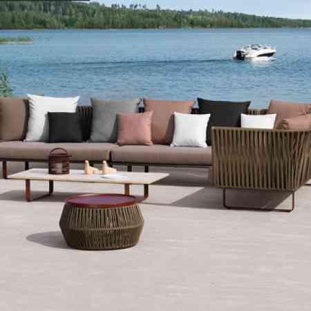 Outdoor sofa combination terrace living room hotel leisure furniture rattan chair sofa courtyard balcony rattan single sofa