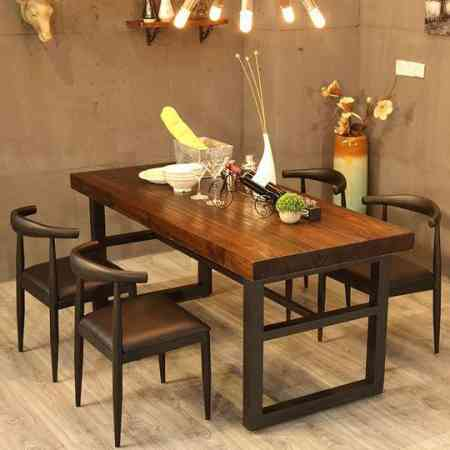 Modern Chinese style simple dining table wood table tea table and chair combination rectangular fast dining table wrought iron wood dining table