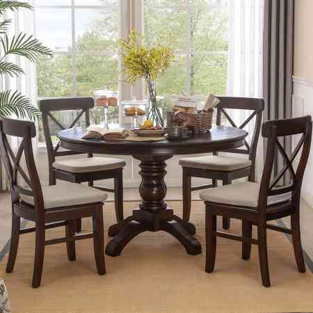 American solid wood dining table small dining table and chair combination round dining table round old table dining table home
