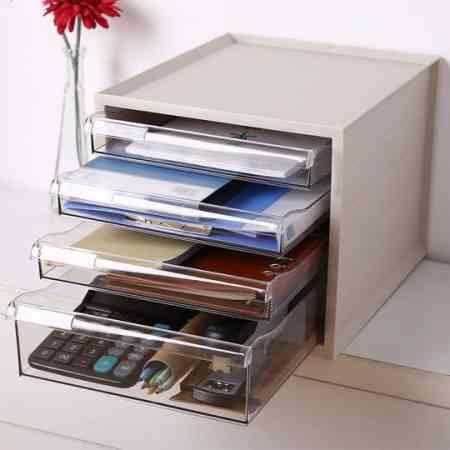 Acrylic A4 paper file cabinet desktop storage box drawer racks desk finishing box stationery storage cabinet