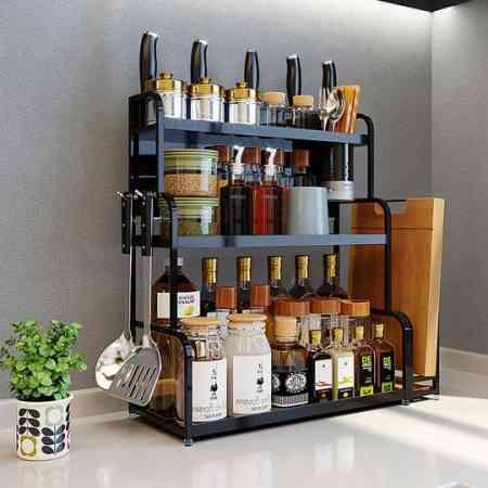 Stainless steel kitchen racks desktop multi-layer seasoning shelf storage storage rack wall hanging knife rack kitchen supplies