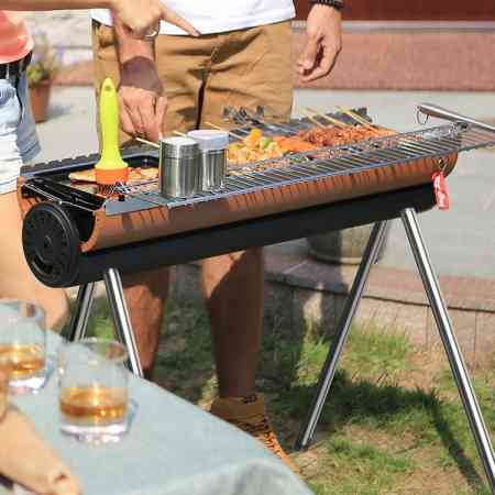 Owen's party outdoor barbecue BBQ BBQ home for more than 5 portable full set of charcoal barbecue tools