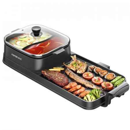 Aolong Hot pot BBQ one-piece pot Home smoke-free separable barbecue machine Maifan stone electric baking pan 涮 baking brush furnace