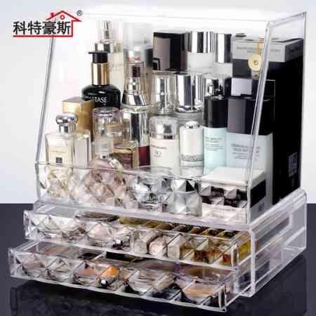 Kurthaus Oversized transparent cosmetic storage box dustproof cover large bottle skin care desktop storage box