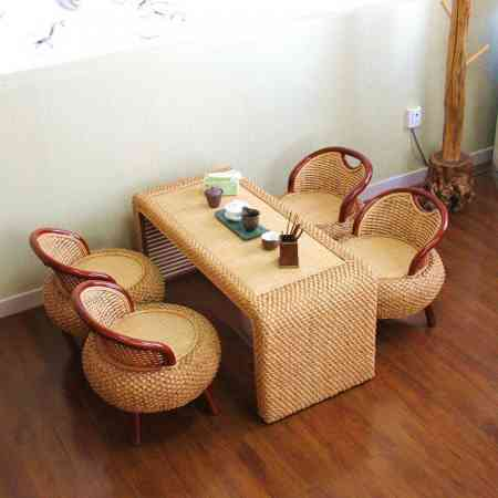 Creative rattan tatami coffee table balcony table and chair combination Zen table solid wood tea table low table Japanese small coffee table