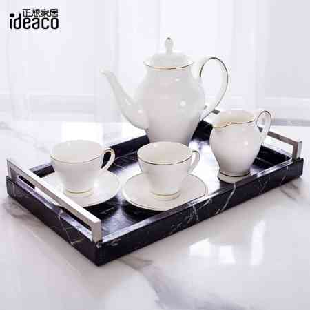 Nordic creative rectangular tray household tea tray cup plate living room coffee table marble pattern fruit tray storage tray