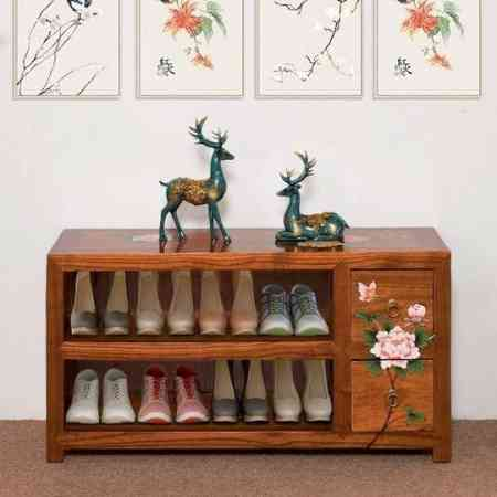 Door small shoe cabinet creative camphor wood painted Chinese style shoe bench modern minimalist shoes stool door shoe cabinet