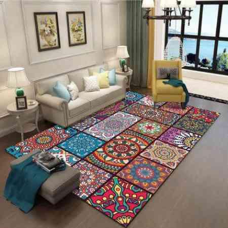 American retro coffee table full carpet ethnic bohemian home bedroom bedside anti-slip blanket carpet carpet