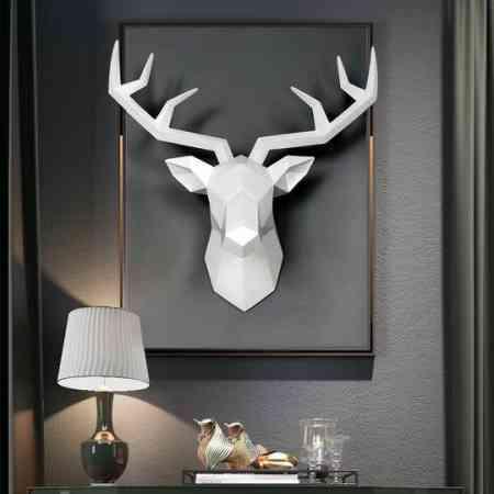 Ins Nordic geometry deer head wall hanging decoration living room bar wall animal wall decoration three-dimensional creative elk pendant
