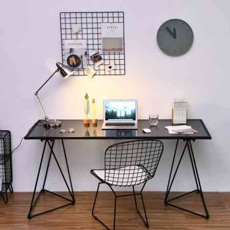 Nordic wrought iron home computer desk desk desk modern minimalist writing desk simple tempered glass table