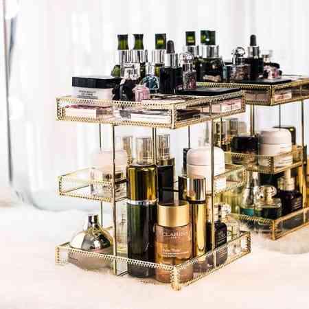 European glass rotating cosmetics shelf storage box desktop multi-layer perfume dressing table lipstick finishing rack