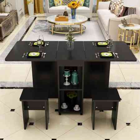 Folding table household simple table small apartment retractable mobile multi-function rectangular simple table and chair combination
