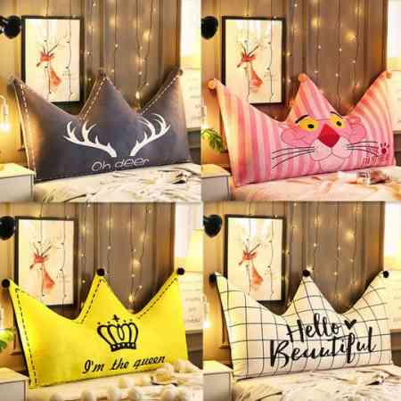 Nordic crown bed cushion ins net red pillow double pillow bed big back cute bed headboard soft bag