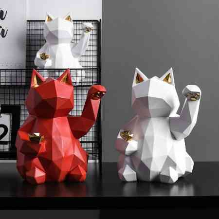 Creative personality geometric lucky cat ornaments living room home wine cabinet decoration office decoration opening gift