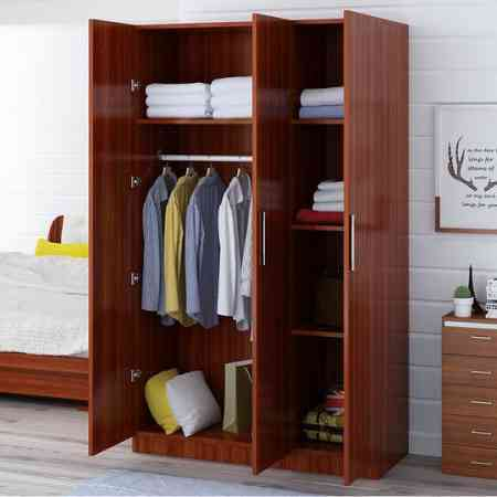 Wardrobe simple modern economical assembled solid wood panel rental dormitory simple single double home small cabinet
