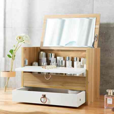 Large wooden cosmetic storage box desktop with mirror drawer rack dressing table cosmetic box household box