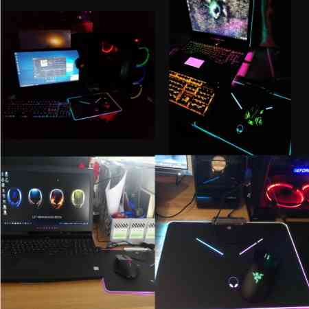 18 new alien magic color computer mouse pad resin light RGB gaming mouse pad wireless charging eat chicken