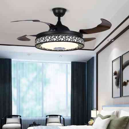 Bluetooth music living room light invisible fan audio charged dining room chandelier ceiling fan light luxury electric fan household