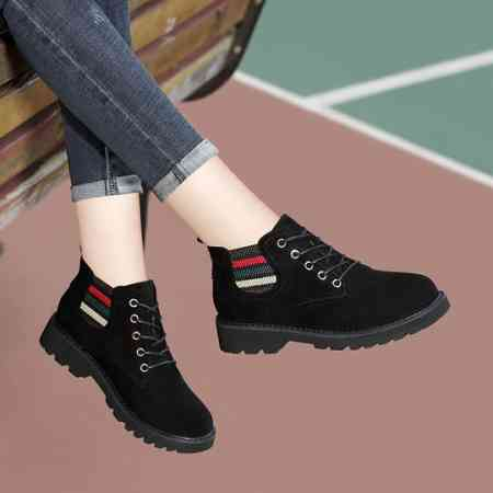 Casual women's shoes winter plus velvet cotton shoes 2018 new black wild ladies autumn and winter net red England small leather shoes