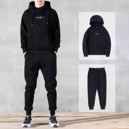 Plus velvet sweater men's hooded autumn and winter models thickened hooded hooded casual sportswear winter trend set two-piece