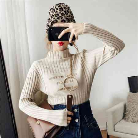Half-high collar gilded letter knit bottoming shirt female autumn and winter 2018 new long-sleeved wild loose hooded jacket tide