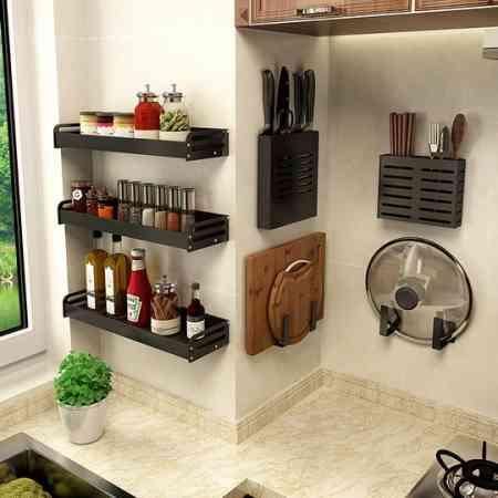 Kitchen racks without punching wall-mounted household seasoning supplies Daquan artifact knife rack rack storage shelf