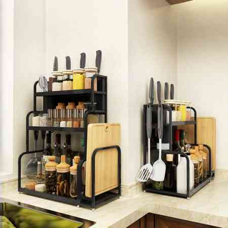 Stainless steel kitchen shelf, floor standing, multi-layer household seasoning products, Daquan knife holder, hanging rack, table storage rack