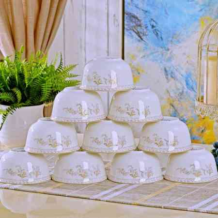 10pcs Jingdezhen Household Rice Bowl Ceramic Bowl 4.5 Inch Eating Bowl Tableware Bowl Set Small Soup Bowl