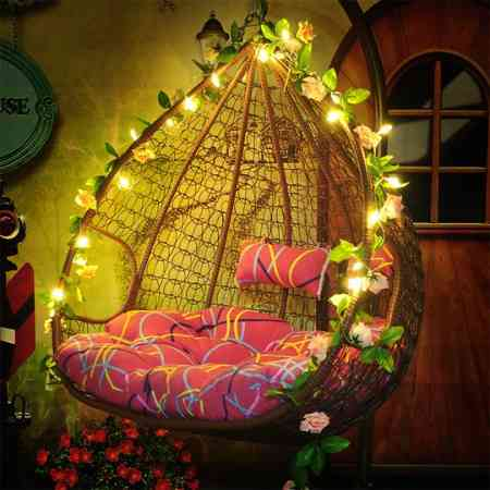 Hanging basket rattan chair household balcony hanging chair indoor living room hammock bird nest lazy single double rocking chair swing hanging blue