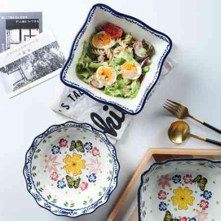 Underglaze color lace square ceramic soup bowl large pull European household Korean large bubbles can bowl Aisha La