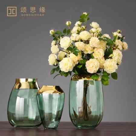 Nordic Light luxury clear glass vase modern minimalist creative table decorations ornaments living room European-style flower arrangement