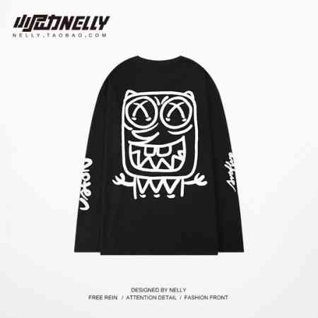 Guochao little monster oversize T-shirt personality lovers loose round neck long-sleeved T-shirt shirt bf ins men and women