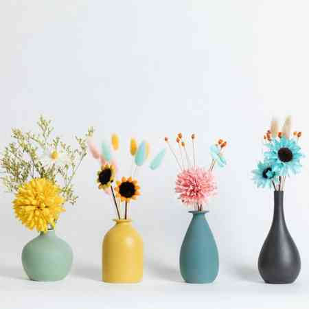 Creative ceramic small vase Nordic style flower arrangement dried flowers living room table TV cabinet dining table home decoration decoration
