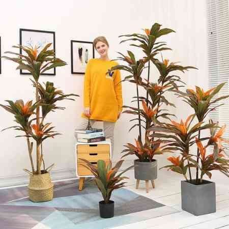 Nordic ins wind indoor red iron tree simulation plant fake flower green plant potted decoration living room floor large decoration
