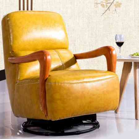 Nordic multifunctional single leather sofa modern minimalist living room leisure rotatable small apartment rocking chair swivel chair