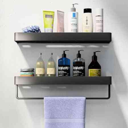 Nordic style non perforated toilet shelf bathroom washroom washstand towel storage rack wall mounted wall