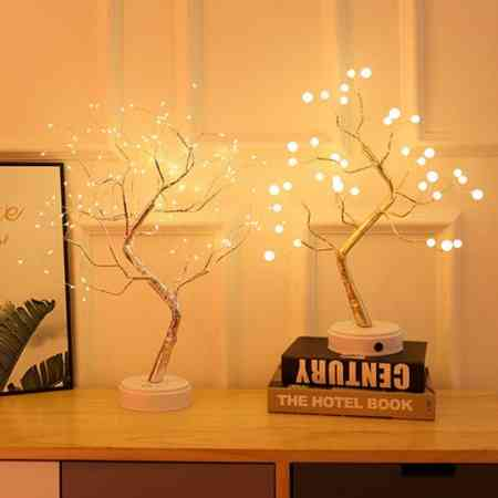 Copper flashing LED light string Starry Night Light Light Light touch switches romantic room decorative pearl tree lights