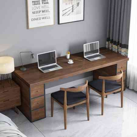 loft office desktop computer desk solid wood cabinets with drawers one simple retro home many people writing desk