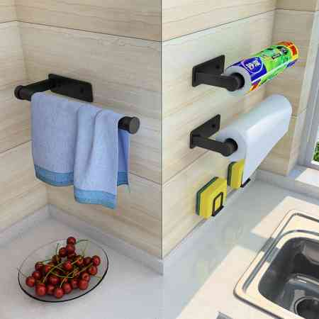 Kitchen tissue holder storage rack roll paper hanging rack wall hanging creative paper box without holes toilet paper artifact storage rack