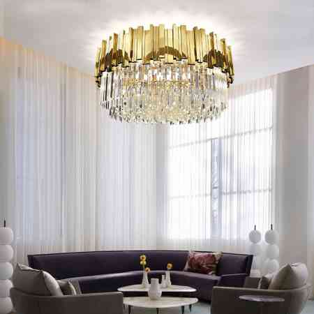 Living room crystal light Hong Kong Style Light luxury post-modern creative personality led luxury atmosphere round hall ceiling lighting