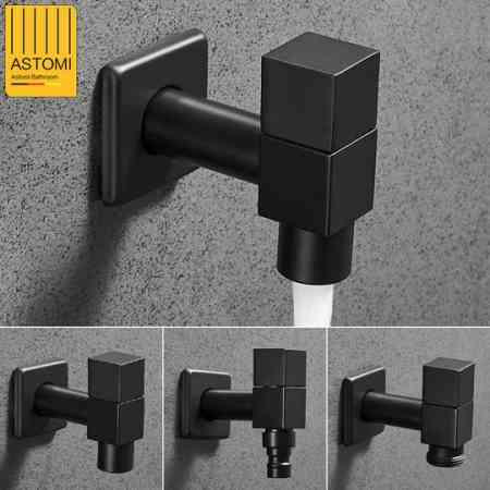Full black copper washing machine faucet quick opening single cold water tap faucet mop pool automatic faucets 4/6