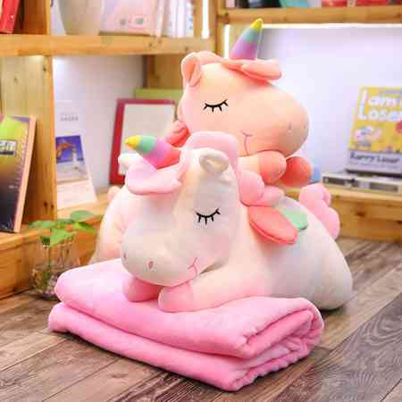 Unicorn pillow quilt dual use ins net red girl heart multi-function nap pillow coral fleece personality cute female
