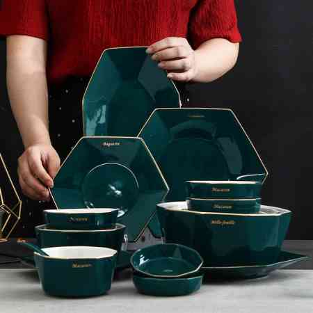 Tableware Set Nordic Style Dishes Set Ceramic Bowl and Plate Creative Combination Home Simple Hot Pot Tableware