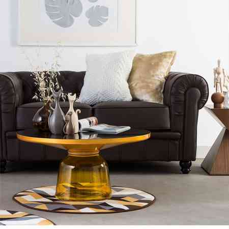 Modern minimalist light luxury glass glass creative personality design small round coffee table sofa corner table combination