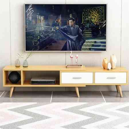 Scandinavian modern minimalist living room TV cabinet coffee table combination of simple small apartment bedroom cabinet retractable TV cabinet