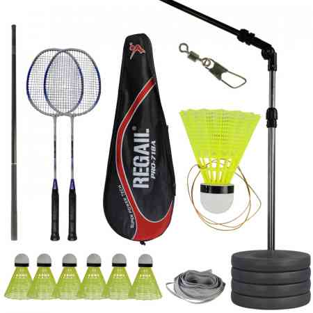 Single Player Badminton trainer with spring back for children's practice