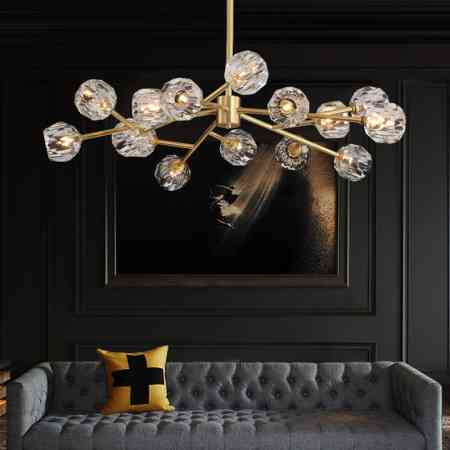 Nordic lamp living room chandelier postmodern light luxury all copper bedroom crystal lamp 2019 new net red molecular lamp